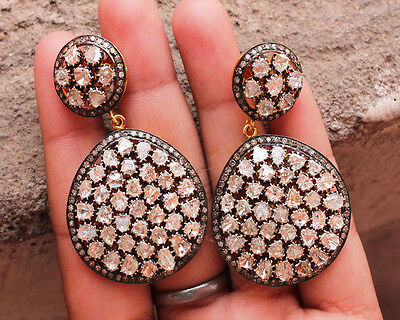 Amazing Vintage Shape Sterling Silver 4.94Ctw. Rose Cut Diamond Polki Earrings