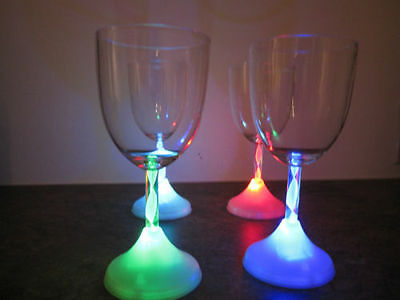 Plastic LED light Up Wine Glass Multicolor Set of 8 Barware