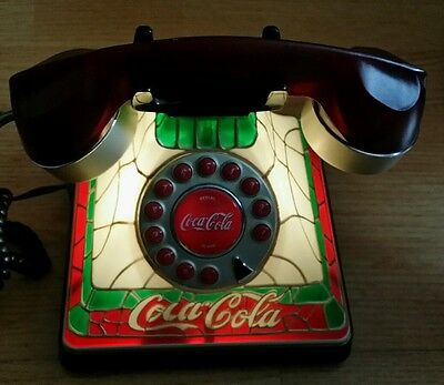 2001 Coca-Cola Stained Glass Tiffany Telephone Collectable Coke Light-Up Phone