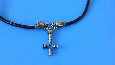 Fenrir Icelandic Wolf Cross Pewter Pendant Braided Leather Necklace! New Viking