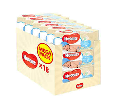 Huggies Pure Baby Wipes - (Pack of 18 x 56 Packs - 1008 Wipes) FREE FAST
