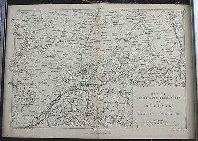 "Antique Map: Franco-Prussian War ""Operations by Orleans, 1870"", Printed 1875"