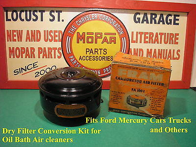 Ford 1938-1949 Chrysler 1946-48 Conversion Air Cleaner Filter Oil Bath To Dry