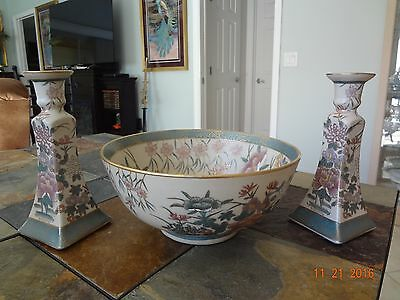 Floral & Gold Gilt Centerpiece Bowl w/Matching Candlesticks *Hand Painted* China