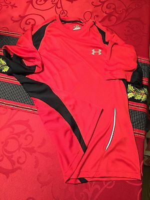 Under Armour Mens Running Shirt Red Black Like New Large