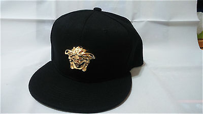 ccd6a367a PATENT FAUX LEATHER handmade gold medallion Medusa snapback strapback cap  hat