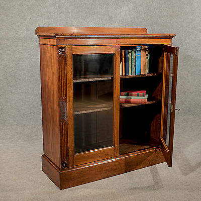 Antique Walnut Bookcase Glazed Display or China Cabinet Quality Victorian c1870