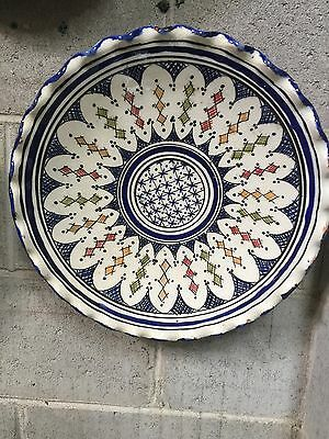 Moroccan Ceramic Hand Made Decorative Or Serving Plate 35cm