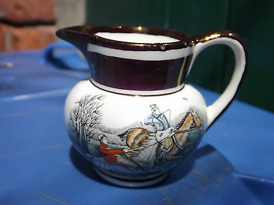 Vintage Grays Pottery small jug with hunting scene
