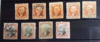 United States,internal Revenue  Stamps (9) Geo Washington..used/lightlyhinged