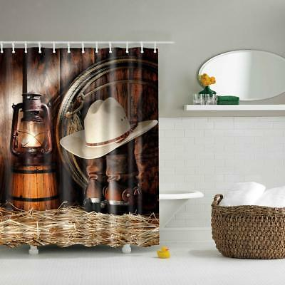 Bathroom Shower Curtain Waterproof Fabric Drapes Decor 12 Hook West Life 71""