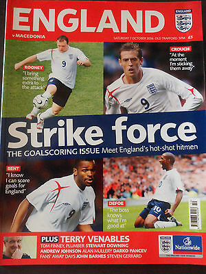 ENGLAND v MACEDONIA PROGRAMME EUROPEAN CHAMPIONSHIP QUALIFIER OCT 2006