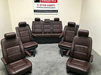 VW T5 Volkswagen Caravelle Seats Triple Seat GP Brown Leather 2014