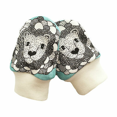 ORGANIC Baby SCRATCH MITTENS Modern mitts TURQUOISE LIONS New Baby Gift