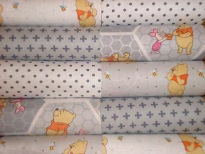 """10 of 4 1/2"""" CHARM SQUARES - WINNIE THE POOH IN GREY - COTTON FABRIC 4 PATCHWORK"""