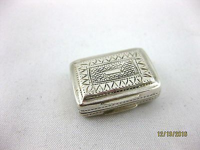 Antique Solid Silver  TINY VINAIGRETTE   Hallmarked  BIRMINGHAM 1824