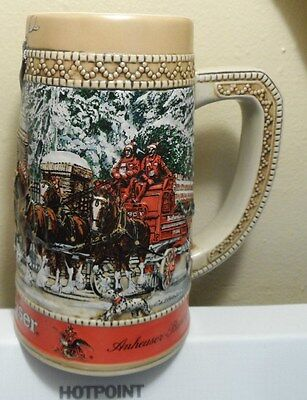 """Budweiser Holiday Mug/Stein Clydesdales Parade Collectors """"C"""" Series  1987"""