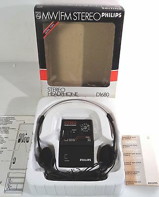 philips d-1680 mw/fm stereo pocket radio , vintage, anni 80, new factory saled!