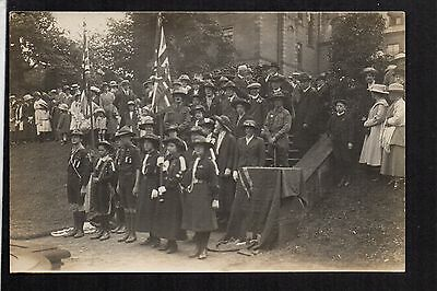 Glossop - Boy Scouts and Girl Guides at Ceremony - real photographic postcard