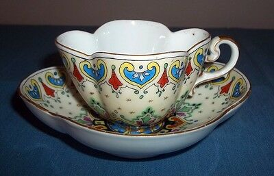 Antique Vintage Dresden Cup and Saucer Pennsylvania Dutch Style Hand Painted