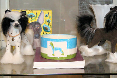 Beautiful Hairless Chinese Crested dog Bowl Dish Artist Made Beautiful Color BIN