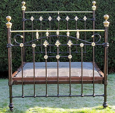 Victorian Art Nouveau Brass and Iron Double Bed with Later Spring Base