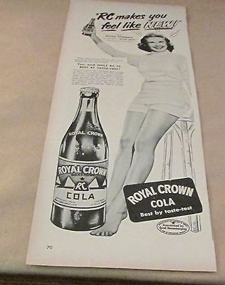 Orig. Advertising Ad...[1950] ROYAL CROWN COLA---AD WITH ACTRESS MONA FREEMAN