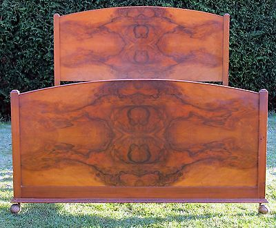 Art Deco Walnut Double bed with New Pine Base