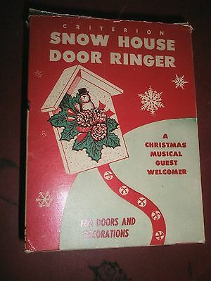 Vintage Criterion Plastic Christmas Musical Door Decoration Bell Snow House IOB