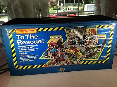 matchbox 1975 rescue city with hospital fire station and police dept