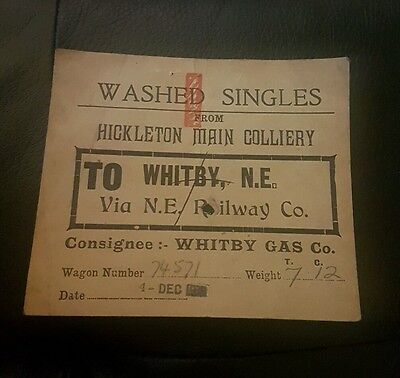 Wagon label hickleton colliery to whitby via n.e railway co 1939 washed singles