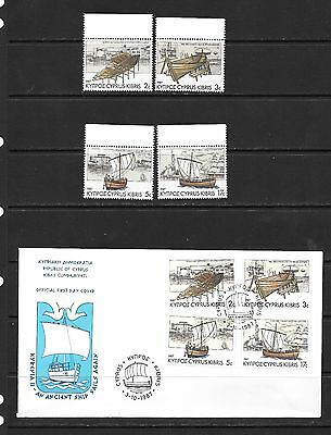 Cyprus 1987 Ancient Ship  FDC and  Set MNH