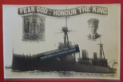 5 RP Postcards 1913 H.M.S. NEW ZEALAND & NEW ZEALANDERS VISITING SHIP FEB 3RD