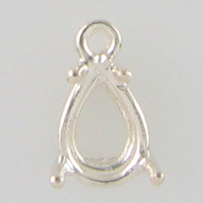 Prenotched 9X6 Pear Shaped Dangle Solitaire Earring In .925 Silver Cb9X6Prss