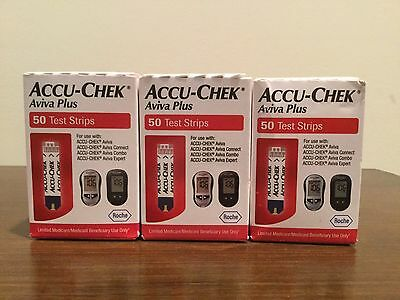 Accu Chek Aviva Plus Test Strips   3 boxes / 150 total strips   FREE SHIPPING!!