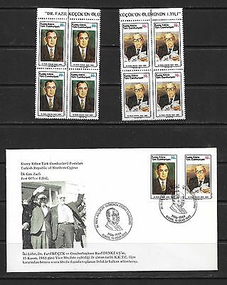 Cyprus 1984 Dr Fazil Kucuk FDC and Block of For MNH