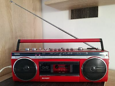 Sharp, Vintage Stereo Radio, Cassette Recorder/Player.QT-12  Boombox ,RED, .