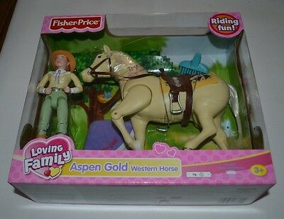 Fisher Price Loving Family Riding Fun Aspen Gold Western Horse And Rider