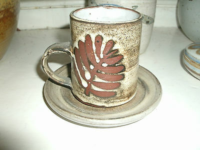 Single Briglin studio pottery fern coffee cup & saucer, (4 avail)