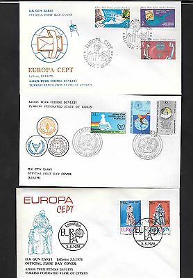 Cyprus 1976 - 1981 Europas , Food Day 3 covers First Day Covers