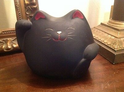 Large Vintage Fat Black Cat Kitty Money Coin Penny Bank Collectible