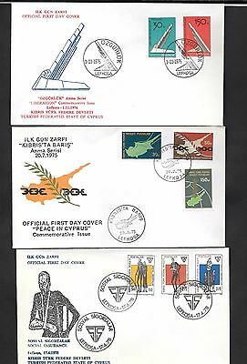 Cyprus 1975 - 1978 Peace Liberation Social Insurance 3 covers First Day Covers