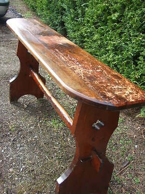 Large Arts & Crafts Bench Console Table - original, church organist's bench