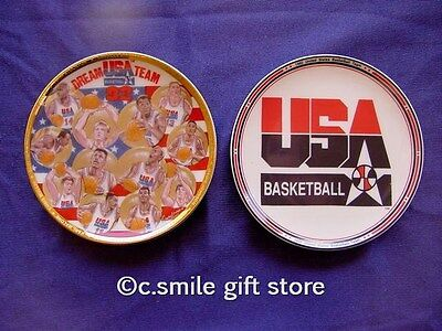 "Sports Impressions *DREAM TEAM & LOGO* Basketball 2 mini 4 1/4"" Plates Ret MIB"