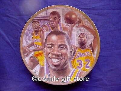 "Sports Impressions *MAGIC JOHNSON* Lakers Basketball  8 1/2"" LE Plate MIB w/COA"