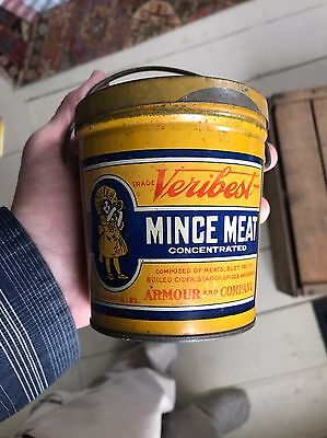 Antique Advertising Mince Meat Veribest Bail Handle Tin Nice Graphics Armour Co