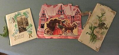 3 Vintage Christmas Greeting Cards from 1903, 1927 & one unknown date