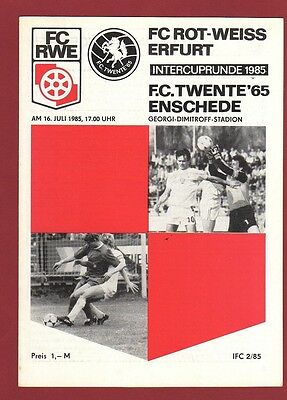 Orig.PRG   Intertoto Cup 1985    FC ROT WEISS ERFURT - TWENTE ENSCHEDE  !!  RARE
