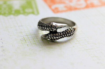 Pewter DOUBLE TALON CLAW Dragon RING MEN'S Size 12 to 21 21.5 mms Gothic Celtic