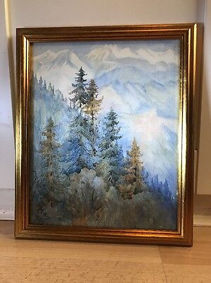 Lovely Vintage 1909 Watercolour Painting Of Mountain Landscape In Gold Frame